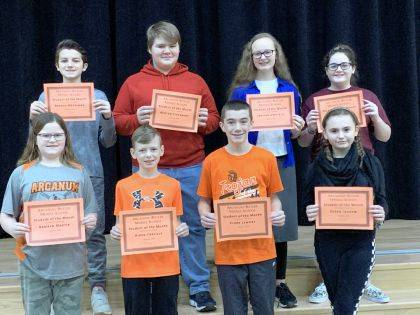 ARCANUM – Arcanum-Butler Middle School congratulates its January Students of the Month. Shown are (back row) Brooks Merriman, Ashton Eikenbery, Jaelynn Hatfield, Sydney Archer, (front row) Kamryn Martin, Aiden Carlisle, Clark Lemons, and Regan Ingram.