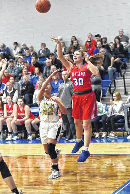 Lissa Siler puts up a shot for the Lady Patriots in tournament win over Springfield Central Catholic.
