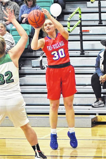 Lissa Siler launches a Lady Patriots 3-pointer in the team's win over Northmont.