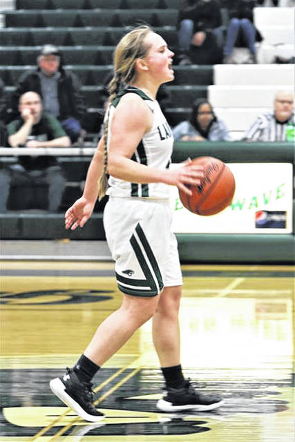 Morgan Gilbert barks out instructions for Greenville in the Lady Wave's senior night win over Springfield.