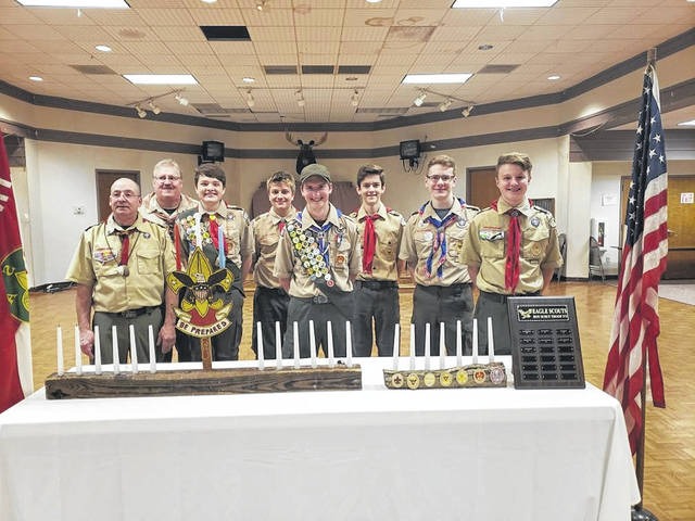 Greenville Troop 373 conducts a recent Eagle Scout Court of Honor for James Normile. From left to right, Rick Normile, Ken Livingston, Graham Milligan, Grant Read, James Normile, Jack Marchal, Mason Garber, and Blake Addis