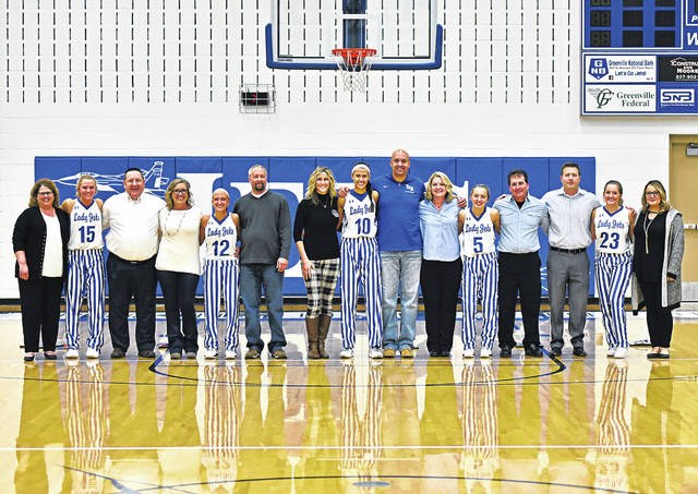 Franklin Monroe Lady Jets Senior Night with parents: (L-R), No. 15 Chloe Peters, No. 12 Chloe Brumbaugh, No. 10 Corina Conley, No. 5 Belle Cable and No. 23 Audrey Cable.