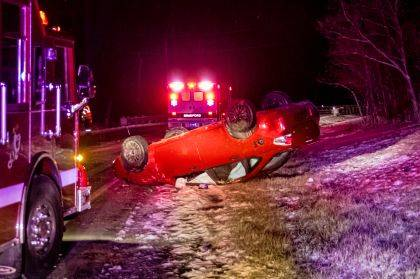 Minor injuries were reported in this rollover crash near Bradford.