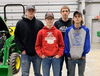 Versailles FFA members placed first and second in the Darke County Ag Power Diagnostics contest members competing were (back row) Sam Gilmore, Issac Gilmore, (front row) Austin Timmerman and Xavior Grillot.