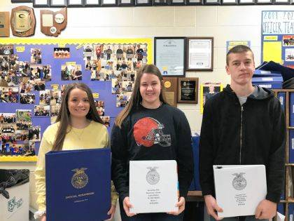 Officer book winners are Tori Wuebker, Cayla Batten, and Noah Barga.