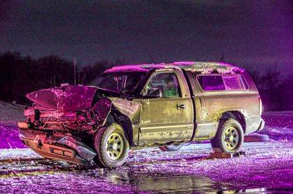It is believed the driver of this Chevy Silverado failed to notice another vehicle slowing down.