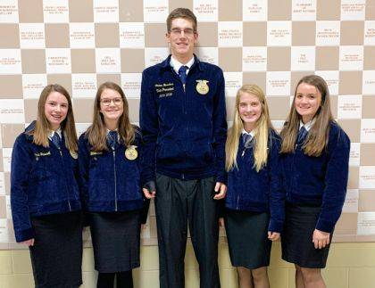 FFA members who competed in the county public speaking contest were Cora Trissel, Zoe Billenstein, Caden Buschur, and Delaney Barga.