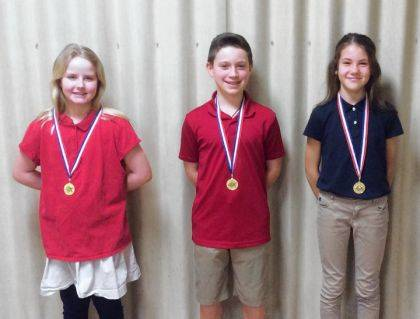 GREENVILLE – St. Mary's School recently held its annual Religion Bee. The top three finishers pictured left to right, are Erin Winner, first place; Gabe Rammel, runner-up; and Claire Rammel, third place.