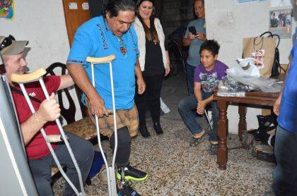 Rudy is shown with the prosthesis that was made possible through EUM's missions team.