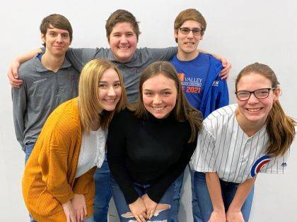 Pictured are (back row) Jonathon North (Business Ownership/ Bethel), Ben Bitner (Business Ownership/Twin Valley South), Nathaniel Davis (Sports Management & Marketing/Franklin Monroe), (front row) Laila Spoonmore (Business Ownership/Arcanum), Manager Samantha Becker (Business Ownership/Northmont), and Alaina Pierce (Sports Management & Marketing/Huber Heights).