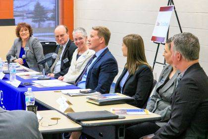 Lieutenant Governor Jon Husted addresses area workforce leaders during a roundtable discussion about the new statewide program, TechCred.