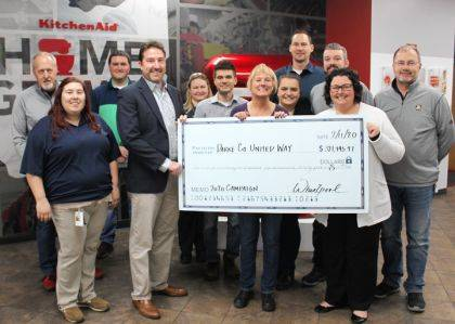 Christy Bugher, executive director of United Way, and Joel Allread, campaign chairman for United Way, were joined by Kristian Garwood and Logan Thompson, co-chairmen for Whirlpool's fundraising campaign, as well as their committee for the check presentation.