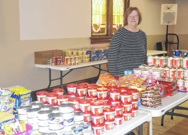 Beth Campbell organized the food drive for the Ansonia emergency student meal kits. She is pleased with all of the contributions that were made for the project and happy that these students will be able to eat well during the school's closing.