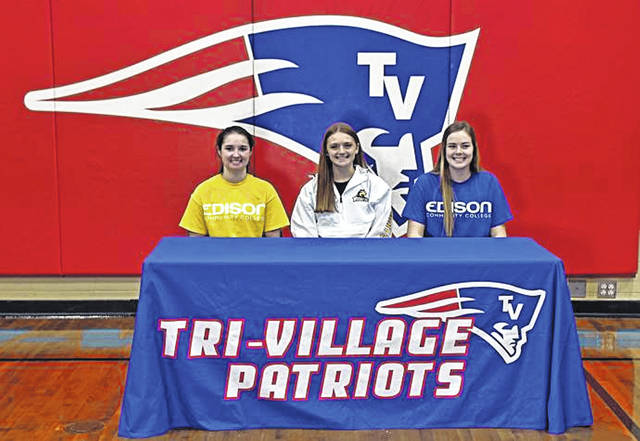 Tri-Village Lady Patriots sign to play at the next level. (L-R) Andi Bietry, Lissa Siler and Maddie Downing.