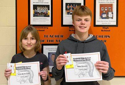 Nate Kessler and Jorie McDermott are Students of the Month.