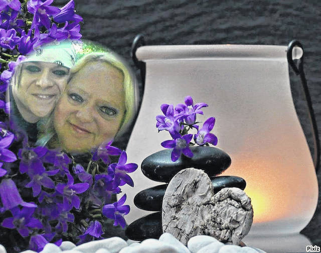 Here is just one of the numerous angel graphics Kathy Hiestand has come up with. It features her (in the foreground) and her son, Carlos, who died in 2016.