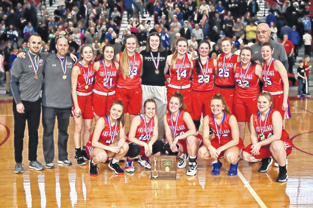 Tri-Village Lady Patriots and coaching staff celebrate OHSAA D-IV District Championship.