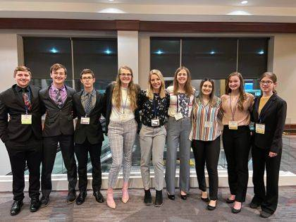 Shown are Kyle Buckingham, Gabe Addington, Cale Jefferis, Emily Livingston, Morgan Wymer, Heidi Livingston, Isabella Fuller, Mariah Claywell, and Christina Sowinski.