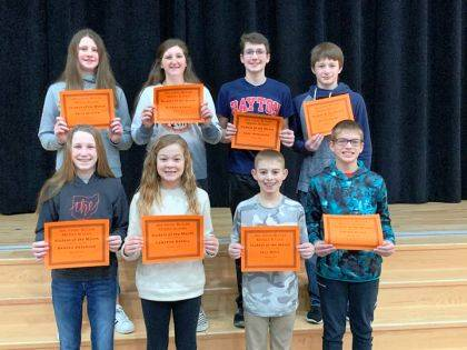 ARCANUM – Arcanum-Butler Middle School congratulates its February Students of the Month. Shown are (back row) Faith Wooten, Hannah Kendig, Luke Henninger, Eli Stephens, (front row) Brooke Anderson, Cameron Garbig, Jace Mote, and Carson Hittle.