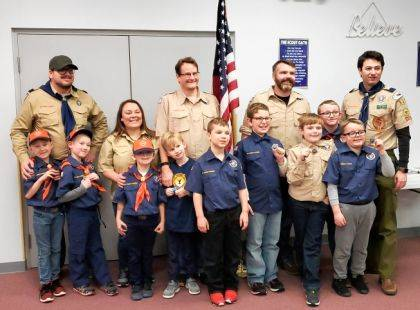 Cub Scout Pack 937 celebrated its first rank advance with these Scout earning their Bobcat Badges. Shown are (top row) Chris Campbell, cub master; Joni Jones, lion den leader; John Fiora, tiger den leader; Jeremy Ledbetter, wolf and bear den leader; Mark Howell, committee chair; (bottom row) Coleson Campbell, Johnathan Howell, Johnathan Jones, Caden Fiora, Paxton Klosterman, Joshua Harrison, Griffin Ledbetter, Jacob Noble, and Grant Fitzgerald. Not pictured are Ben Mardin, Ethan Henry, and Garrison Henry.