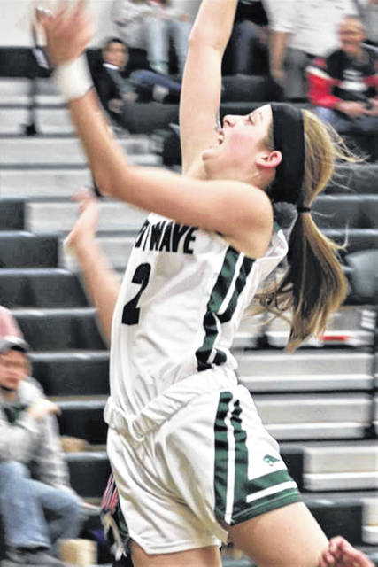 Lady Wave First Team All-Ohio, Haleigh Behnken drives to the basket for Greenville.