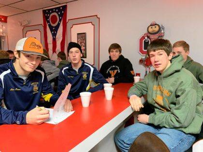 Over 75 FFA Members of the Versailles FFA Chapter are shown enjoying breakfast at Sideliner's during National FFA week sponsored by Frenchtown Trailer Sales and Bruns Animal Clinic.