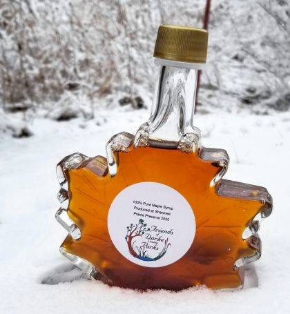 Pint jars of the locally produced maple syrup are available at Shawnee Prairie.