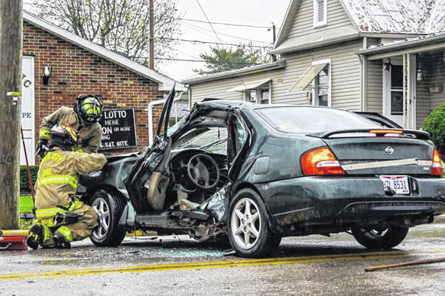 Saturday evening two-vehicle crash that left one injured.