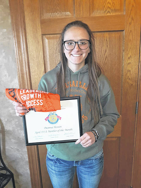 Provided photo Deanna Hesson was selected as the April Versailles FFA Member of the Month.