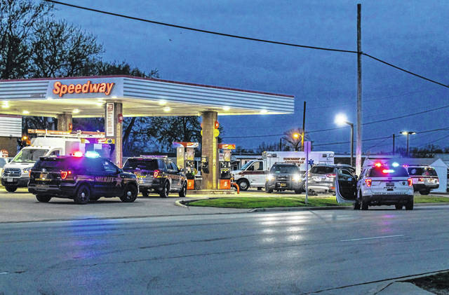 Jim Comer | DarkeCountyMedia.com A stabbing took place Monday morning at Spirit Medical Transport with the subjects approached at Speedway on Sweitzer Street by the Greenville Police Department and Darke County Sheriff's Office.