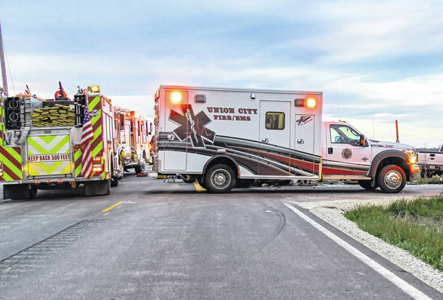 Jim Comer | DarkeCountyMedia.com The two-vehicle crash outside of the Village of Union City remains under investigation by the Indiana State Police.