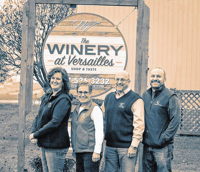 Members of The Winery family owners, Carol and Mike Williams (in the center) are daughter Lisa Heidenrich and son, Jamie, who is the vice president of operations and participating with their Pennsylvania Winery as well. The Willamses have donated 1,000 gallons of wine to a Dayton distillery to help make hand sanitizer for usage by first responders and medical officials.