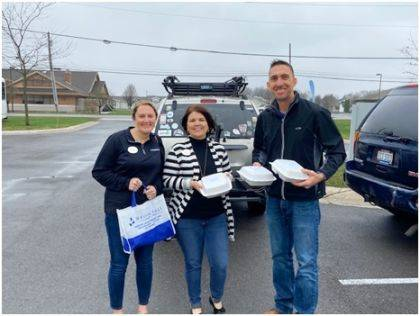 Shown are Joshua Welker, Outreach Coordinator at EUM Church, Christena Sharp Sales & Marketing Manager for Brookdale Senior Living and Mindy Stebbins, executive director for Brookdale Senior Living.