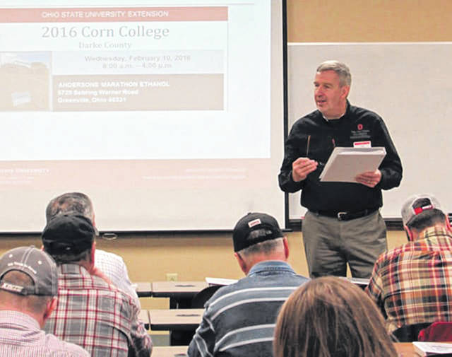 """File photo Sam Custer of the Darke County Extension of the Ohio State University, speaks to attendees at the """"Corn College"""" in Greenville. The day-long event brought together farmers and agricultural experts to discuss trends and profitability in farming in 2016."""