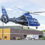 Child airlifted after falling into fire pit