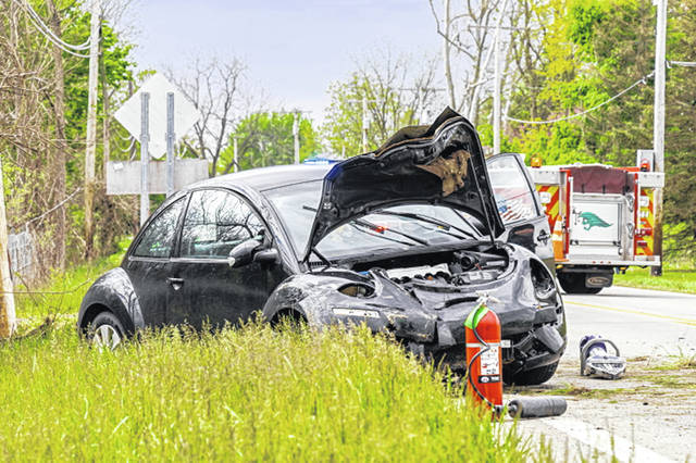 Teen driver traveles off the roadway and strikes a utility pole before coming to rest in a ditch.
