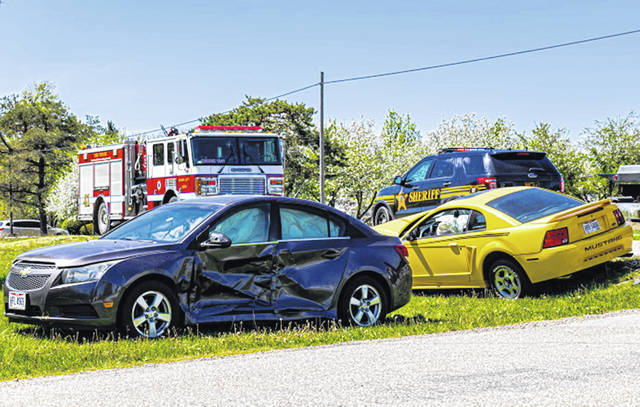 A two-vehicle crash ended with two people injured