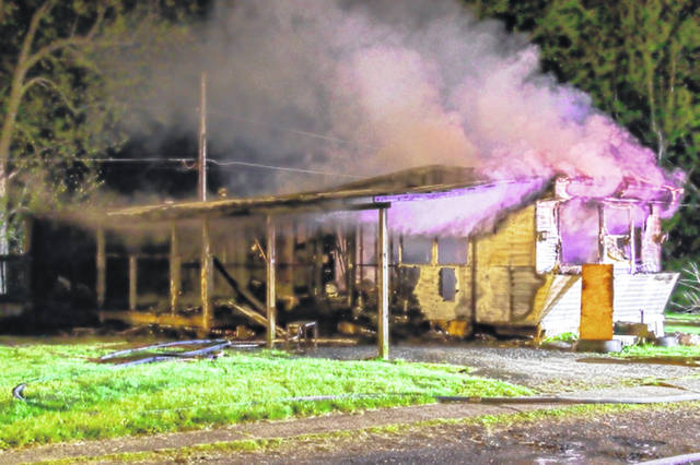 Monday evening Union City mobile home fire destroys everything within.