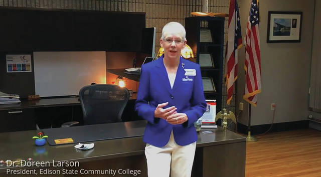 Edison State Community College | Facebook Dr. Doreen Larson, president of Edison State Community College, went live on Facebook, streaming its annual State of the College address to viewers on Tuesday morning.