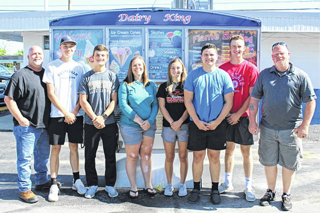 (L-R) Dave Bush (co-owner), Alexander Baumgardner, Connor Mills, Stephanie Baumgardner (co-owner), Rylee Canan, Ty Bush, Hayden Bush and Dave McCartney (co-owener), owners and employees at Greenville's Dairy King.