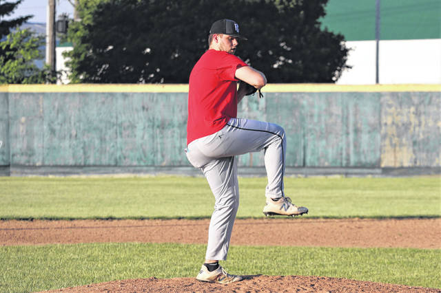 Grant Delk takes a turn on the mound in Tuesday nights Greenville Tunder's practice at Sater Park.