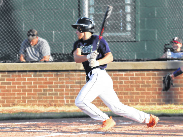 Logan Stastny collects one of his two hits for Greenville Thunder in league win over Piqua.