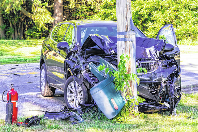 Two people sought medical treatment following a crash into a utility pole Tuesday morning near Greenville. Their injuries were deemed minor. Deputies continue to investigate.