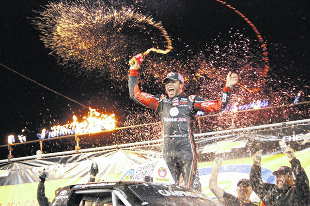 Eldora Speedway NASCAR Truck Series winner, Darrell 'Bubba' Wallace Jr. celebrates his 2014 win at the Darke County oval dirt track.