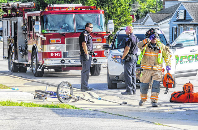 A young male was airlifted to Dayton Children's Hospital Thursday evening after wrecking his bicycle on Wagner Avenue in Greenville.