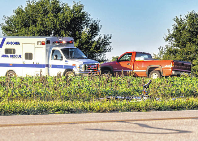 A man was transported to Miami Valley Hospital following a collision between a pickup truck and motorcycle Friday evening. The pickup truck drive was cited with OVI.