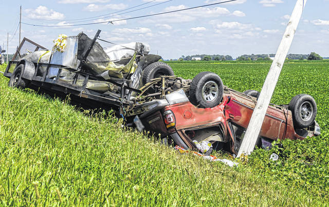Two people received non-life-threatening injuries after a rollover crash near Osgood on Tuesday afternoon.
