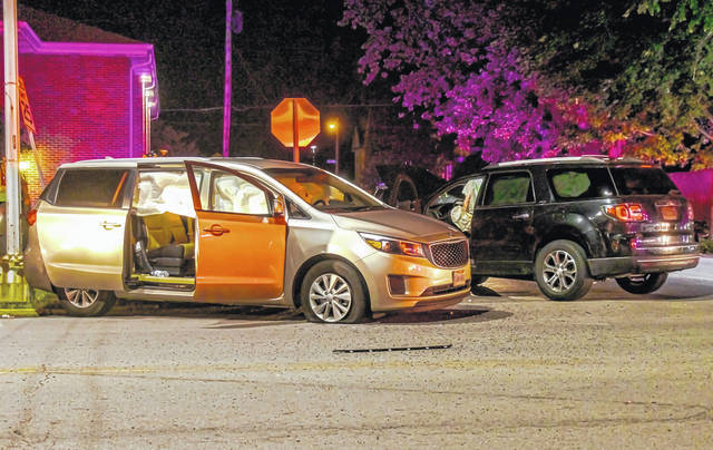 A woman and three children were treated for injuries following a two-vehicle collision in Greenville Wednesday night.