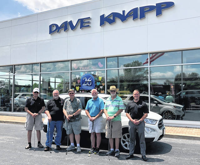 Pictured from left to right is the Youth for Christ Golf Committee: Gary Lloyd, Neal Crawford, Ed Ault, Pete Cutarelli, and Mike Snyder. Also pictured is Bryan Knapp from Dave Knapp Ford, Inc.