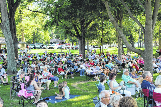 Citizens enjoy a concert performance by the Greenville Municipal Concert Band in 2018. Due to COVID-19 precautions, the band will not perform at Greenville City Park in 2020.